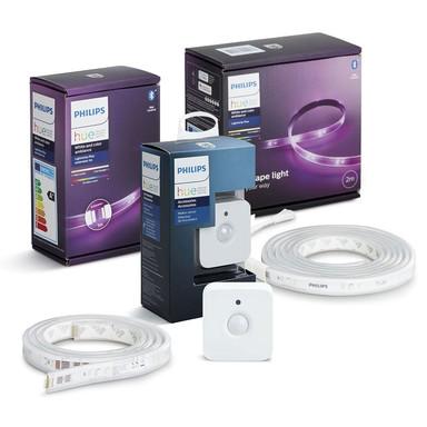 Philips Hue Bluetooth LED LightStrip Plus 2 Meter Basis mit 1 Meter Erweiterung und Hue Bewegungsmelder