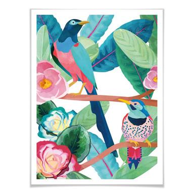 Poster Goed Blauw - Vögel im Frühling