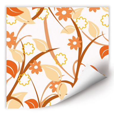 Wallprint Blumengarten orange