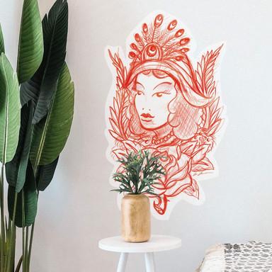 Wandsticker Miami Ink Frau mit Pfauenfedern