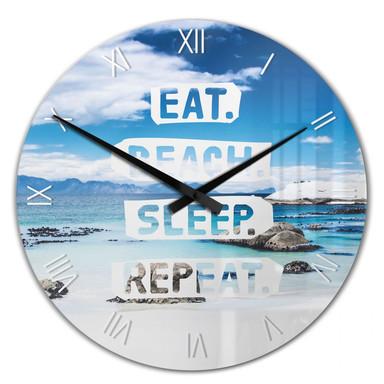 Wanduhr Eat. Beach. Sleep. Repeat.