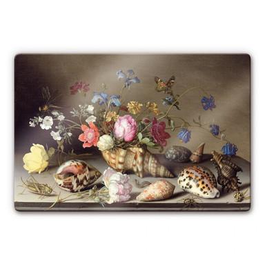 Glasbild Balthasar van der Ast - Blumen, Muscheln und Insekten auf einem Steingesims