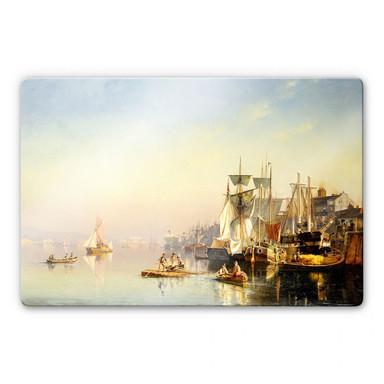 Glasbild Neumann - Fischerboote und Kähne auf der Themse bei Greenwich