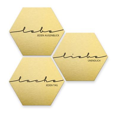 Hexagon - Alu-Dibond-Goldeffekt - Lebe, Lache, Liebe (3er Set)