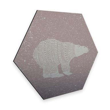 Hexagon - Alu-Dibond-Silbereffekt Polarbär Weiss