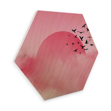 Hexagon - Holz Birke-Furnier Nordic Creators - Pink Sunshine