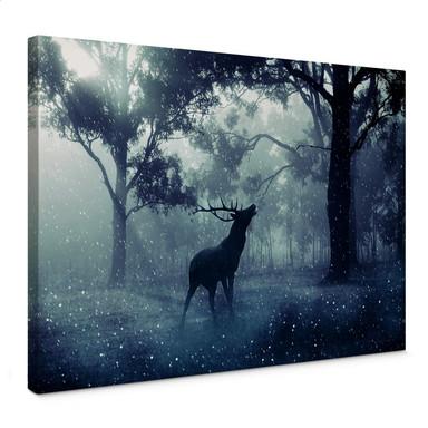 Leinwandbild Hirsch im Morgenwald
