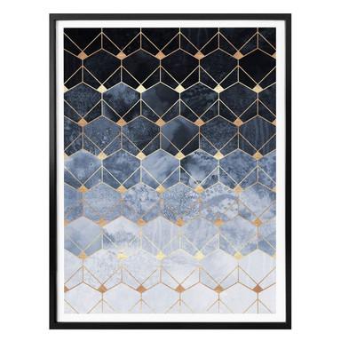 Poster Fredriksson - Hexagone: Blau und Gold