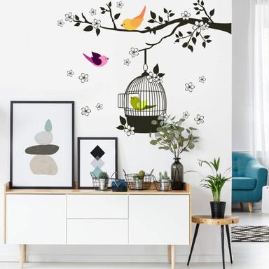 Wandsticker Vögelchen im Baum