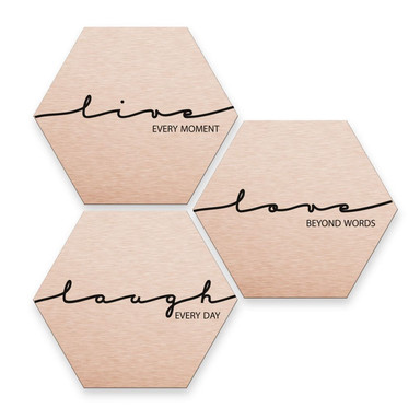 Hexagon - Alu-Dibond-Kupfereffekt - Live Laugh Love (3er Set)