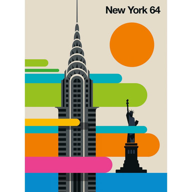 Livingwalls Fototapete ARTist New York 64 Chrysler Building & Freiheitsstatue beige, blau, grün, orange, rosa, schwarz, türkis - Bild 1