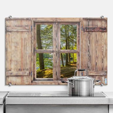 Spritzschutz 3D Holzfenster - Waldweg am Fluss