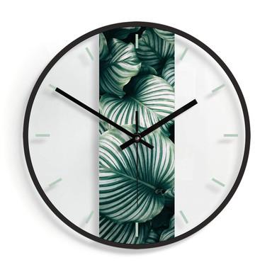 Wanduhr aus Glas - Urban Jungle - Calathea Orbifolia Ø30cm - Bild 1