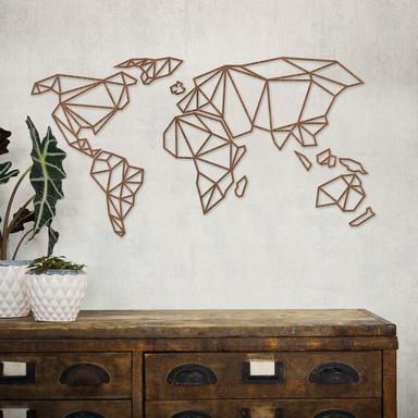3D Weltkarte Origami aus Holz - Mahagoni