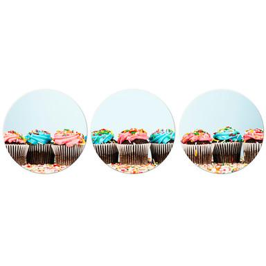 Glasbild Party Cupcakes 02 - rund (3-teilig)