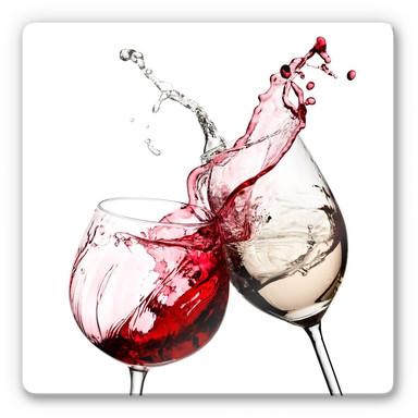Glasbild Weingläser - quadratisch