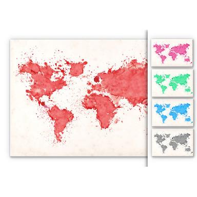 Hartschaumbild Weltkarte Aquarell - Bild 1