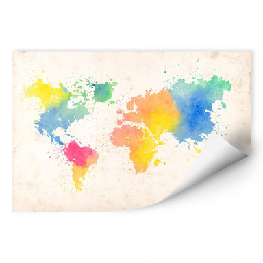 Wallprint Weltkarte - Watercolour