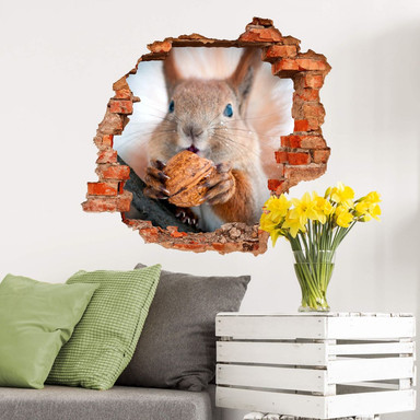 3D Wandtattoo Eichhörnchen mit Nuss