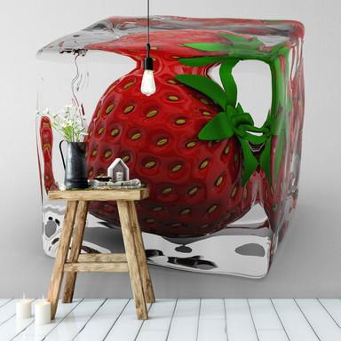 Fototapete Erdbeereiswürfel - 240x260cm - Bild 1