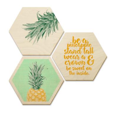 Hexagon - Holz Birke-Furnier - Ananas (3er Set)