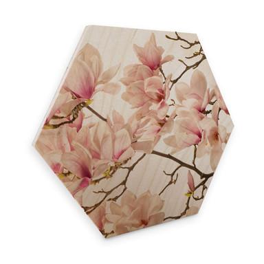 Hexagon - Holz Birke-Furnier - Kadam - Flora Magnolia im Frühling