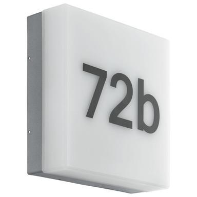 LED Aussenwandleuchte Dämmerungssensor IP44 mit Hausnummer Weiss