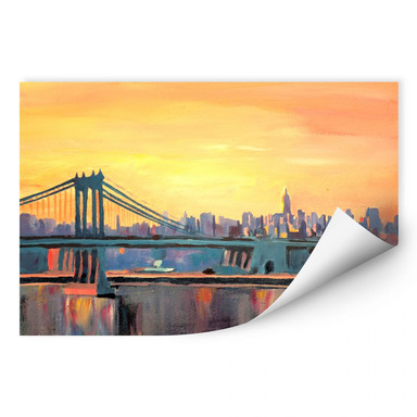 Wallprint Bleichner - Blue Manhattan Skyline with Bridge and Vanilla Sky