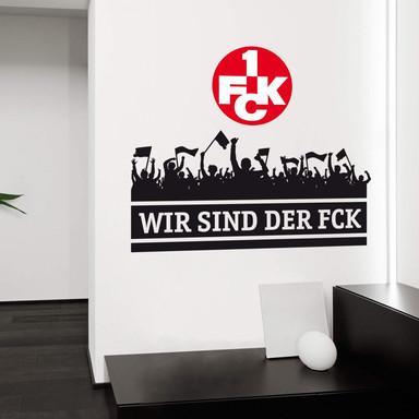 Wandtattoo Wir sind der FCK mit Logo farbig