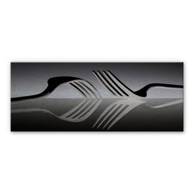 Alu-Dibond Bild De Kogel - Silverware Reflection - Panorama