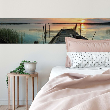Fototapete Sunset at the Lake - Panorama - 48x260cm - Bild 1