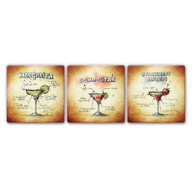 Glasbild Cocktails Set 01 (3-teilig)
