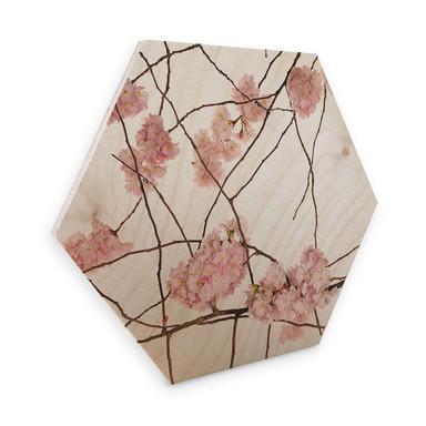 Hexagon - Holz Birke-Furnier Kadam - Japanische Kirschblüte
