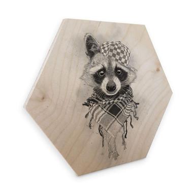 Hexagon - Holz Birke-Furnier Kools - Rocco Raccoon