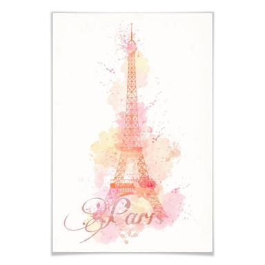 Poster La Tour Eiffel Aquarelle