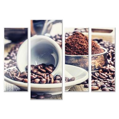 Hartschaumbild Kaffeeträume (4-teilig)
