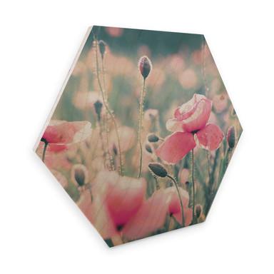 Hexagon - Holz Birke-Furnier Delgado - Mohnblumenmomente
