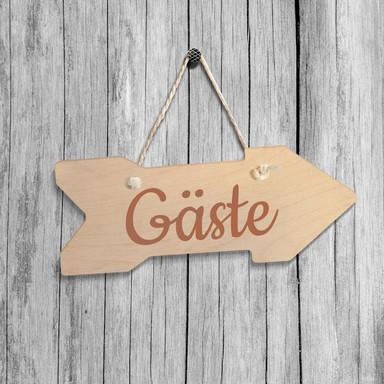Holz-Wegweiser - Gäste inkl. Sisalseil