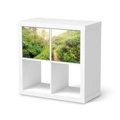 Möbel Klebefolie IKEA Expedit Regal 2 Türen (quer) - Green Tea Fields- Bild 1