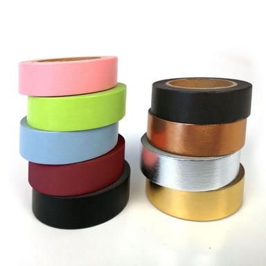 Washi Tape einfarbig in 9 verschiedenen Desingns