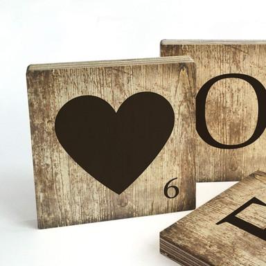 Buchstabensteine Herz - Vintage