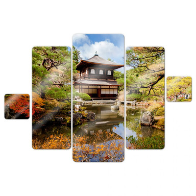 Glasbild Japanischer Tempel 2 (5-teilig)