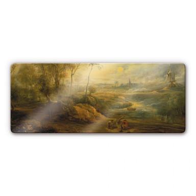Glasbild Rubens - Landschaft mit Vogelfänger