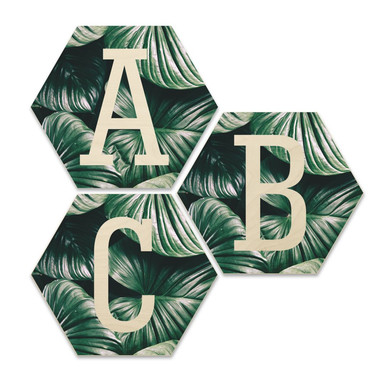 Hexagon Buchstaben - Holz Birke-Furnier - Urban Jungle