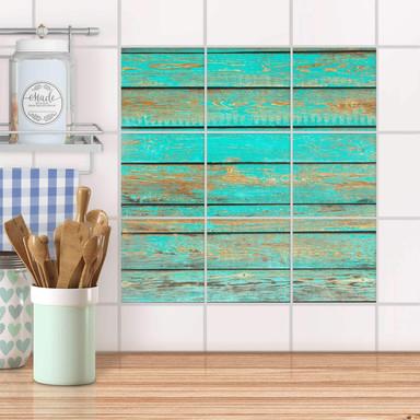 Klebefliesen - Wooden Aqua - 9er Set