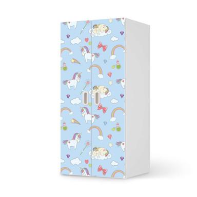 Möbelfolie IKEA Stuva / Fritids Schrank - 2 grosse Türen - Rainbow Unicorn