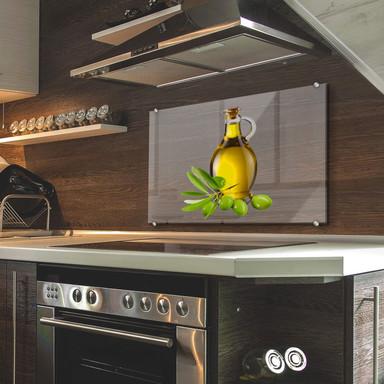 Spritzschutz Olives and a Bottle - Transparent