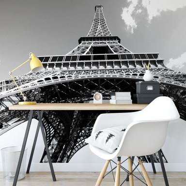 Fototapete Eiffelturm Perspektive schwarz/weiss