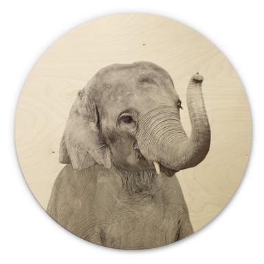 Holzbild Sisi & Seb - Baby Elefant - Rund