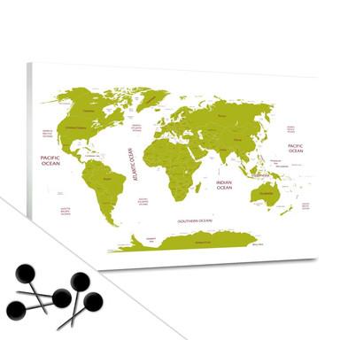 Pinnwand Weltkarte - grün